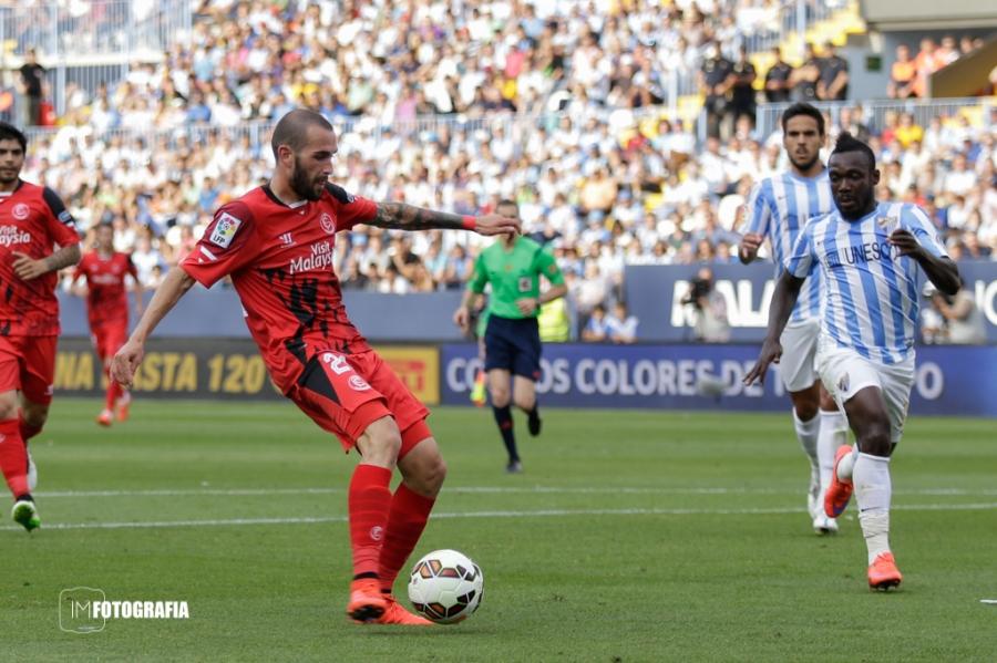 Gol de Aleix Vidal en la última jornada de Liga en Málaga